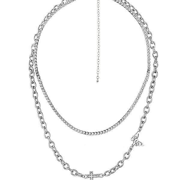 Stainless steel necklace with cross