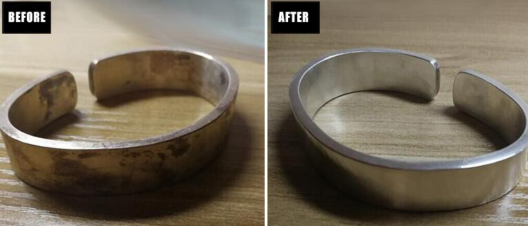 Sterling Silver ring polishing before and after