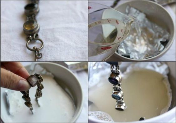 aluminum foil salt and baking soda method to Clean Silver Plated Jewelry